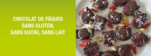 Chocolat de pâques sans gluten sans sucre sans lait